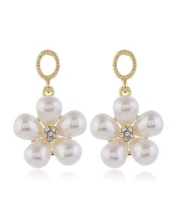 Pearl Fashion Dangling Flower Graceful Alloy Women Earrings - White