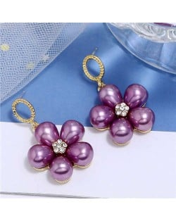 Pearl Fashion Dangling Flower Graceful Alloy Women Earrings - Purple