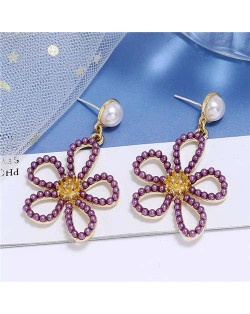 Pearl Embellished Hollow Flower Design Internet Celebrities Fashion Women Alloy Earrings - Purple