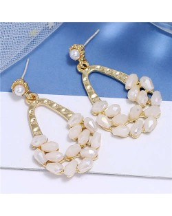 Crystal Embellished Waterdrop Design Bold Fashion Women Hoop Earrings - White