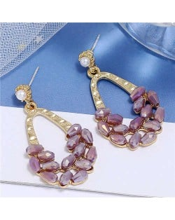 Crystal Embellished Waterdrop Design Bold Fashion Women Hoop Earrings - Purple