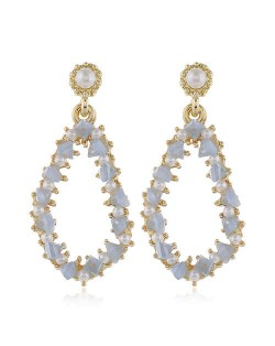 Pearl and Crystal Embellished Luxurious Waterdrop Dangling Tassel Shoulder-duster Earrings - Blue