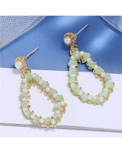 Pearl and Crystal Embellished Luxurious Waterdrop Dangling Tassel Shoulder-duster Earrings - Green
