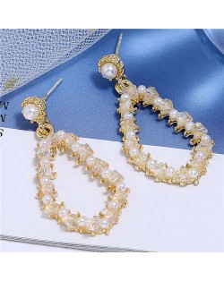 Pearl and Crystal Embellished Luxurious Waterdrop Dangling Tassel Shoulder-duster Earrings - White