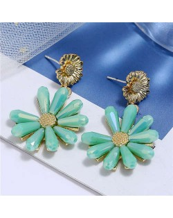 High Fashion Crystal Chrysanthemum Theme Design Women Alloy Earrings - Green