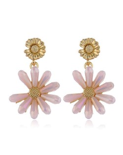 High Fashion Crystal Chrysanthemum Theme Design Women Alloy Earrings - Pink