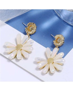 High Fashion Crystal Chrysanthemum Theme Design Women Alloy Earrings - White