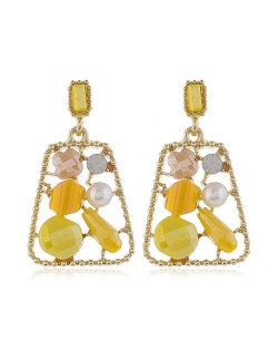 Jewel Fashion Trapezoid High Fashion Women Stud Earrings - Yellow