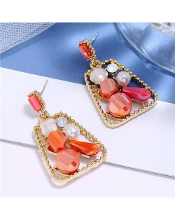 Jewel Fashion Trapezoid High Fashion Women Stud Earrings - Red