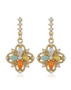 Pearl and Crystal Inlaid Clover Design Graceful Fashion Women Dangling Earrings - Multicolor