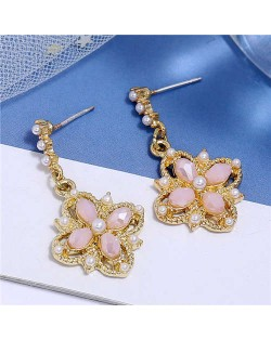 Pearl and Crystal Inlaid Clover Design Graceful Fashion Women Dangling Earrings - Pink