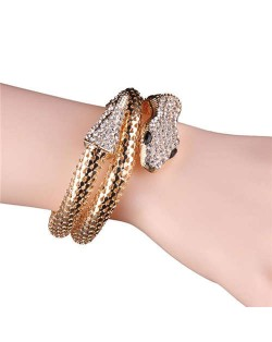 Rhinestone Embellished Coiled Snake Design High Fashion Women Alloy Bracelet - Golden
