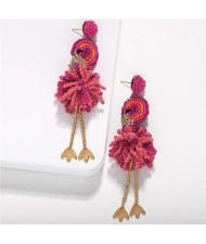 Bohemian Fashion Mini Beads Creative Animals Design Internet Celebrities Choice Women Costume Earrings - Ostrich