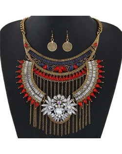 Rhinestone Embellished Arch and Chain Tassel Bold Fashion Women Statement Bib Necklace and Earrings Set