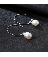 4 Colors Available Natural Pearl Pendants 925 Sterling Silver Women Medium Hoop Earrings