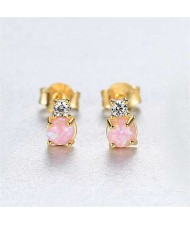 3 Colors Available Cubic Zirconia and Rhinestone Embellished Korean Fashion 925 Sterling Silver Women Stud Earrings