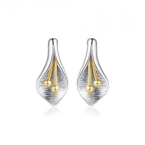 Creative Flower Stamen Design 925 Sterling Silver Women Stud Earrings