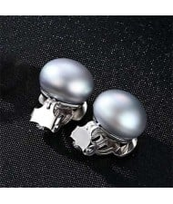 4 Colors Available Steamed Bun Shape Natural Pearl 925 Sterling Silver Women Ear Clips
