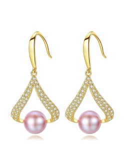 3 Colors Available Cubic Zirconia and Natural Pearl Decorated 18K Gold Plated 925 Sterling Silver Women Earrings