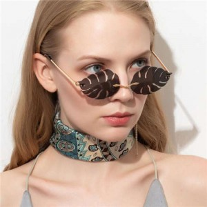 5 Colors Available Palm Leaves Design High Fashion Frameless Style Women Sunglasses