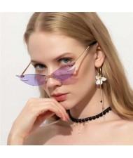 5 Colors Available Unique Cat Eye Design Frameless Popular Fashion Women Sunglasses