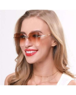 5 Colors Available Gradient Color Lens Irregular Shape Frameless High Fashion Women Sunglasses