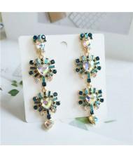 Rhinestone Embellished Korean Fashion Dangling Flower Vintage Design Women Statement Earrings - Green
