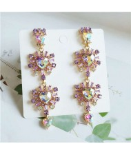 Rhinestone Embellished Korean Fashion Dangling Flower Vintage Design Women Statement Earrings - Violet