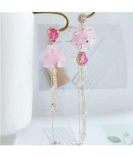 Romantic Flowers Asymmetric Design Tassel Shoulder-duster Women Fashion Earrings - Pink