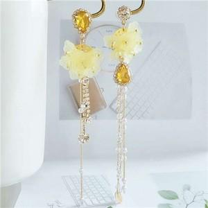 Romantic Flowers Asymmetric Design Tassel Shoulder-duster Women Fashion Earrings - Yellow
