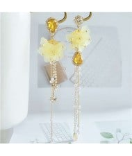 Romantic Flowers Asymmetric Design Tassel Shoulder-duster Women Fashion Earrings - Yellow