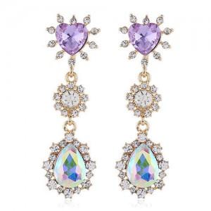 Unique Purple Heart and Waterdrop Pendant Combo Design Shining Rhinestone Tassel Shoulder-duster Earrings