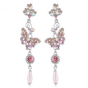 Korean Fashion Butterfly Elegant Design Rhinestone Women Tassel Shoulder-duster Earrings - Silver