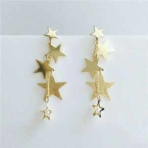 Online Celebrities Preferred Stars Cluster Dangling Design Women High Fashion Alloy Earrings