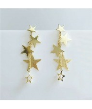 Online Celebrities Preferred Stars Cluster Dangling Design Women High Fashion Alloy Earrings
