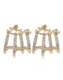 Rhonestone Embellished Love Theme Copper Fashion Women Earrings