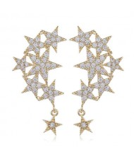 Shining Stars High Fashion Women Rhinestone and Copper Earrings