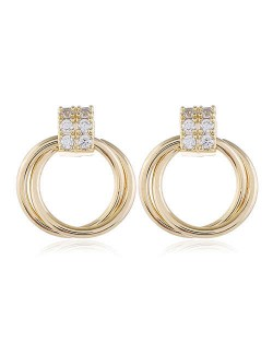 Rhinestone Inlaid Small Hoop Golden Copper Women Costume Earrings