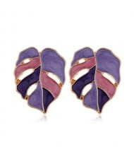 Enamel Mixed Colors Hollow Leaves Style High Fashion Women Stud Earrings - Purple