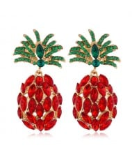 Rhinestone Pineapple Shining Style Women Alloy Stud Earrings - Red