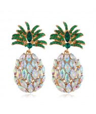 Rhinestone Pineapple Shining Style Women Alloy Stud Earrings - Luminous White