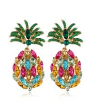 Rhinestone Pineapple Shining Style Women Alloy Stud Earrings - Multicolor