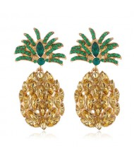 Rhinestone Pineapple Shining Style Women Alloy Stud Earrings - Champagne