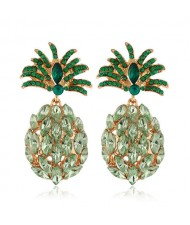 Rhinestone Pineapple Shining Style Women Alloy Stud Earrings - Green