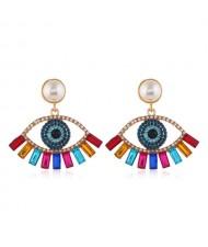 Rhinestone Embellished Hollow Eye Design Pearl Fashion Women Stud Earrings - Multicolor