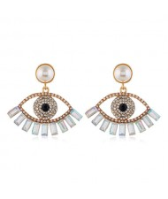 Rhinestone Embellished Hollow Eye Design Pearl Fashion Women Stud Earrings - White