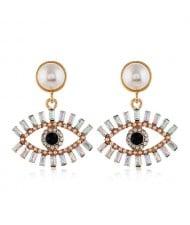 Rhinestone Fashion Eye Design Pendant Pearl Style Women Alloy Stud Earrings - White