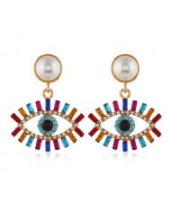 Rhinestone Fashion Eye Design Pendant Pearl Style Women Alloy Stud Earrings - Multicolor