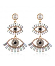 Dual Fashion Eyes Rhinestone Glistening Style Dangling Women Stud Earrings - Luminous White