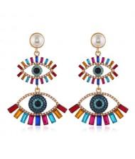 Dual Fashion Eyes Rhinestone Glistening Style Dangling Women Stud Earrings - Multicolor